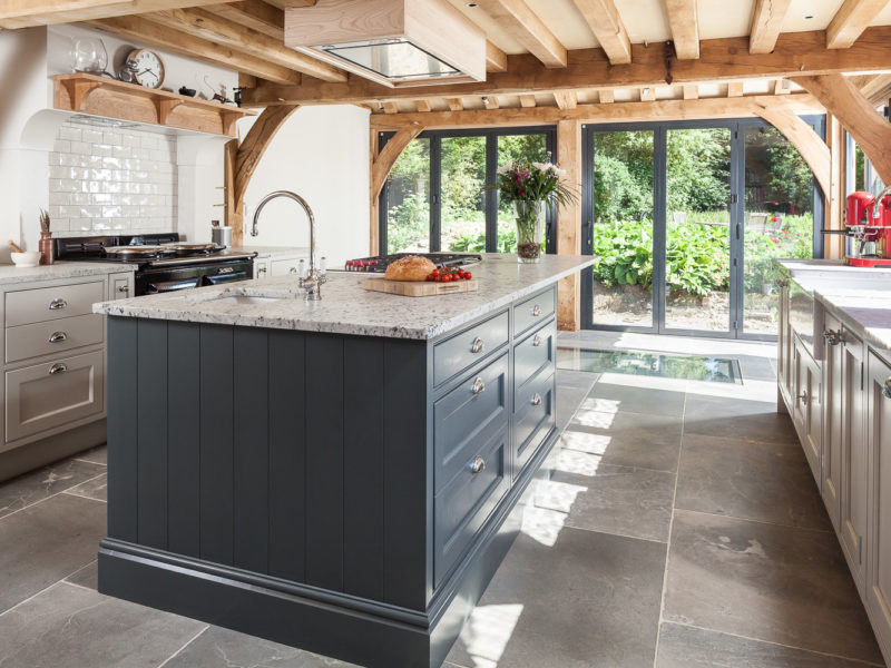 kitchen extension with beams and tiled floor