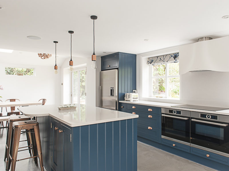 modern blue with with island and breakfast bar