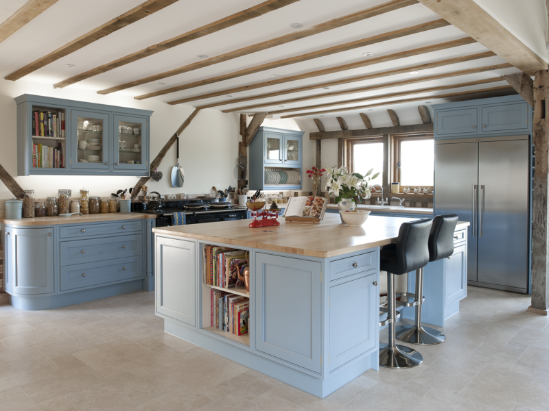 traditional blue cottage kitchen with tiled floor