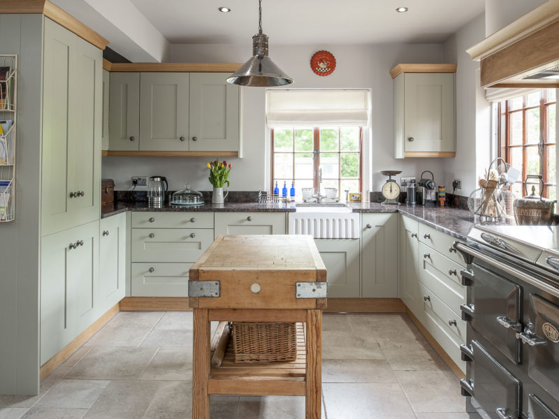 cottage kitchen with tiled floors and butchers block
