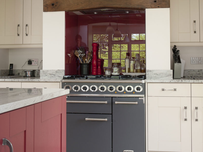 cottage kitchen with tiled floor and range cooker