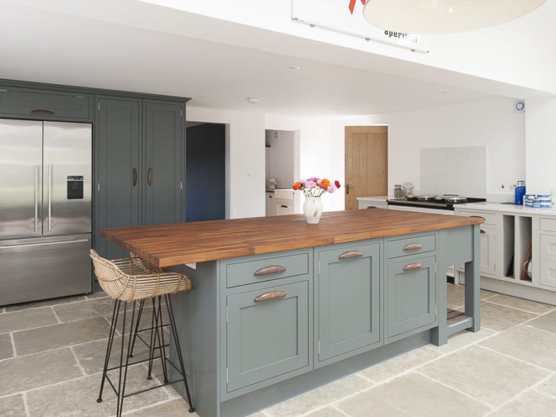 kitchen with island and wood worktop