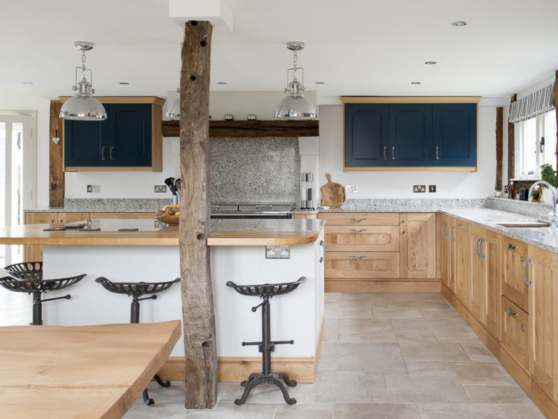 family kitchen with breakfast bar