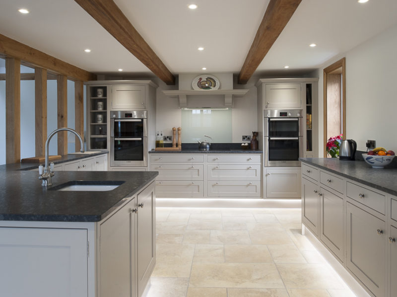 kitchen with beams and dark worktops
