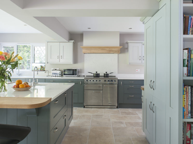 sophisticated grey kitchen with island