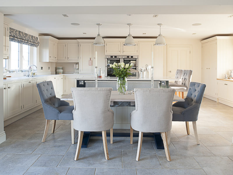 classic kitchen with dining area and tiled floor