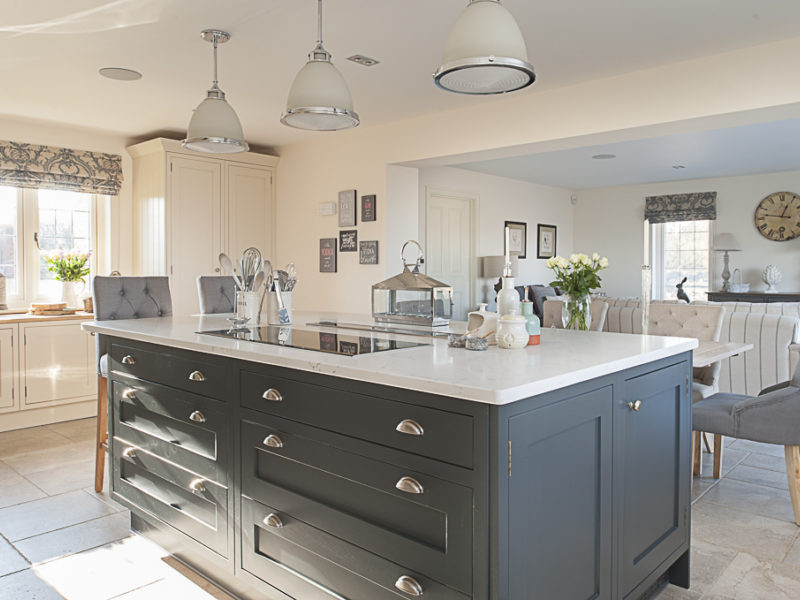classic kitchen with island and pendant lights
