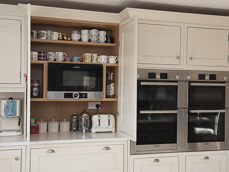 classic kitchen with wood shelving